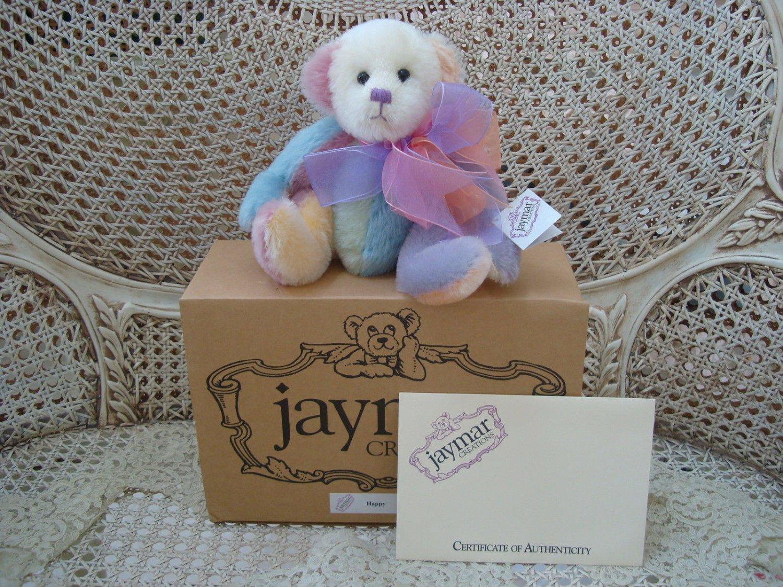 """JAYMAR CREATIONS HAPPY 10"""" MOHAIR RAINBOW COLORED LISA APPLEBEARY ARTIST BEAR"""
