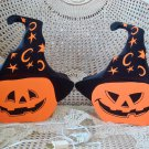 SET OF TWO VINTAGE HALLOWEEN PUMPKINS WITH WITCH HATS LIGHTS ***SO CUTE***