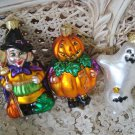 SET OF 3 BLOWN GLASS HALLOWEEN ORNAMENTS WITCH PUMPKIN MAN AND GHOST  **NEW**