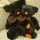 RUSS BERRIE SET OF 2 SPARKY HALLOWEEN BEARS WITH SPARKLING BLACK PLUSH & PUMPKIN