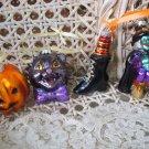 SET OF 4 BLOWN GLASS HALLOWEEN ORNAMENTS  BLACK CAT WITCH PUMPKIN GLITTER *NEW*
