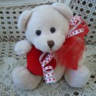 VALENTINE'S DAY TEDDY BEAR WITH HEART AND PRETTY HEART RIBBON BOW ***NEW**