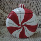 WHIMSICAL CHRISTMAS PEPPERMINT CERAMIC COOKIE JAR **SO CUTE**