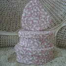 PRETTY SET OF 3 FABRIC HEART HAT BOXES ***GREAT FOR STORAGE OR DISPLAY**