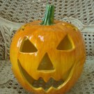 HALLOWEEN JACK O'LANTERN LIGHT UP CERAMIC PUMPKIN WITH CUT OUT STARS *WHIMSICAL*