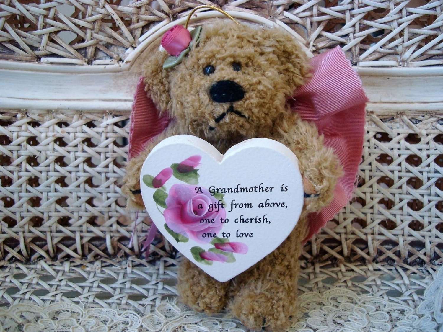 A GRANDMOTHER IS A GIFT FROM ABOVE MAUVE BEAR ORNAMENT WITH WOODEN HEART SO CUTE