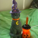 AWESOME BLACK CAT WEARING A WITCH HAT HALLOWEEN BUBBLE LIGHT WITH PUMPKIN