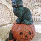 WHIMSICAL VINTAGE INSPIRED  HALLOWEEN BLACK CAT WITH PUMPKIN GLITTER FIGURINE