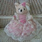 "BEAUTIFUL VINTAGE 12"" TALL TEDDY BEAR WITH LACE DRESS AND ROSE ACCENTS **SO CUTE* EASTER"