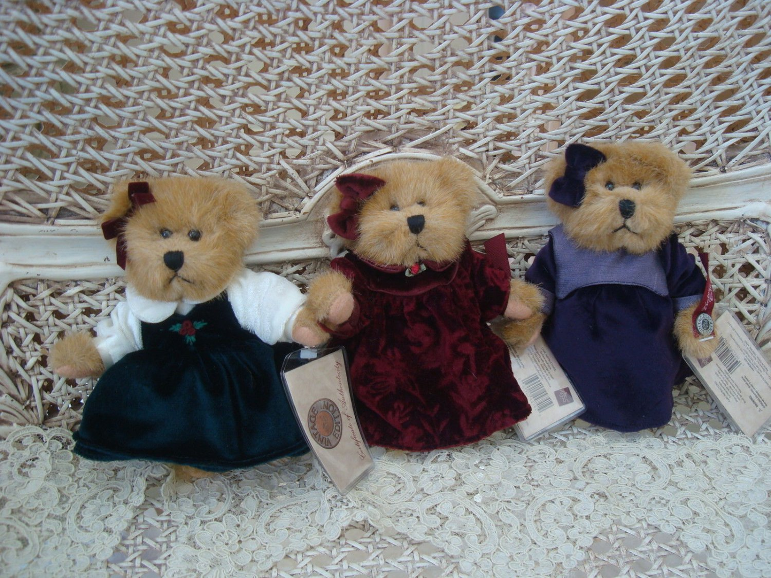 "RUSS BERRIE SET OF THREE 6"" PRETTY VINTAGE EDITION BEARS: MEGAN, HALLEY, & PAIGE"