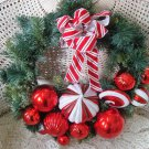 GORGEOUS PEPPERMINT CANDY GLITTER  LARGE CHRISTMAS WREATH *WHIMSICAL*