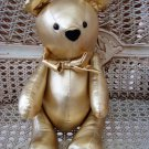 GORGEOUS VINTAGE SMALL GOLD LAME CHRISTMAS TEDDY BEAR **SO CUTE**