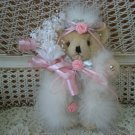 BEAUTIFUL VINTAGE WHITE QUEEN TEDDY BEAR WITH CROWN & PRETTY PINK ROSES ***EASTER***