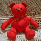 PRETTY LARGE RED MOIRE FABRIC CHRISTMAS TEDDY BEAR *NEW* *SO CUTE**