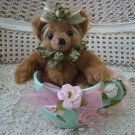 "ADORABLE 8"" TALL BEAR DECORATED WITH ROSES IN LARGE CERAMIC CUP **SPRING**"