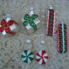 6 HALLMARK PEPPERMINT CANDY PRESENTS AND RIBBON CANDY CHRISTMAS ORNAMENTS *NEW*