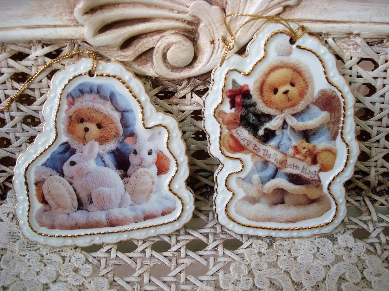 BUNNIES & ANGEL 2 CHERISHED TEDDIES TEDDY BEAR PORCELAIN CHRISTMAS ORNAMENTS NEW