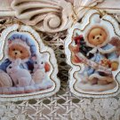 BUNNIES & ANGEL 2 CHERISHED TEDDIES TEDDY BEAR PORCELAIN CHRISTMAS ORNAMENTS NEW