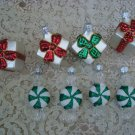 8 HALLMARK BLOWN GLASS CHRISTMAS ORNAMENTS PEPPERMINT CANDY & GIFTS **SO CUTE**