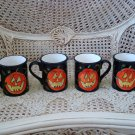 SUSAN WINGET SET OF 4 HALLOWEEN CERAMIC PUMPKIN JACK O'LANTERN MUGS **SO CUTE**