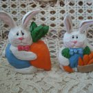 EDDIE WALKER MIDWEST OF CANNON FALLS 2 EASTER BUNNIES WITH CARROTS FIGURINES NEW