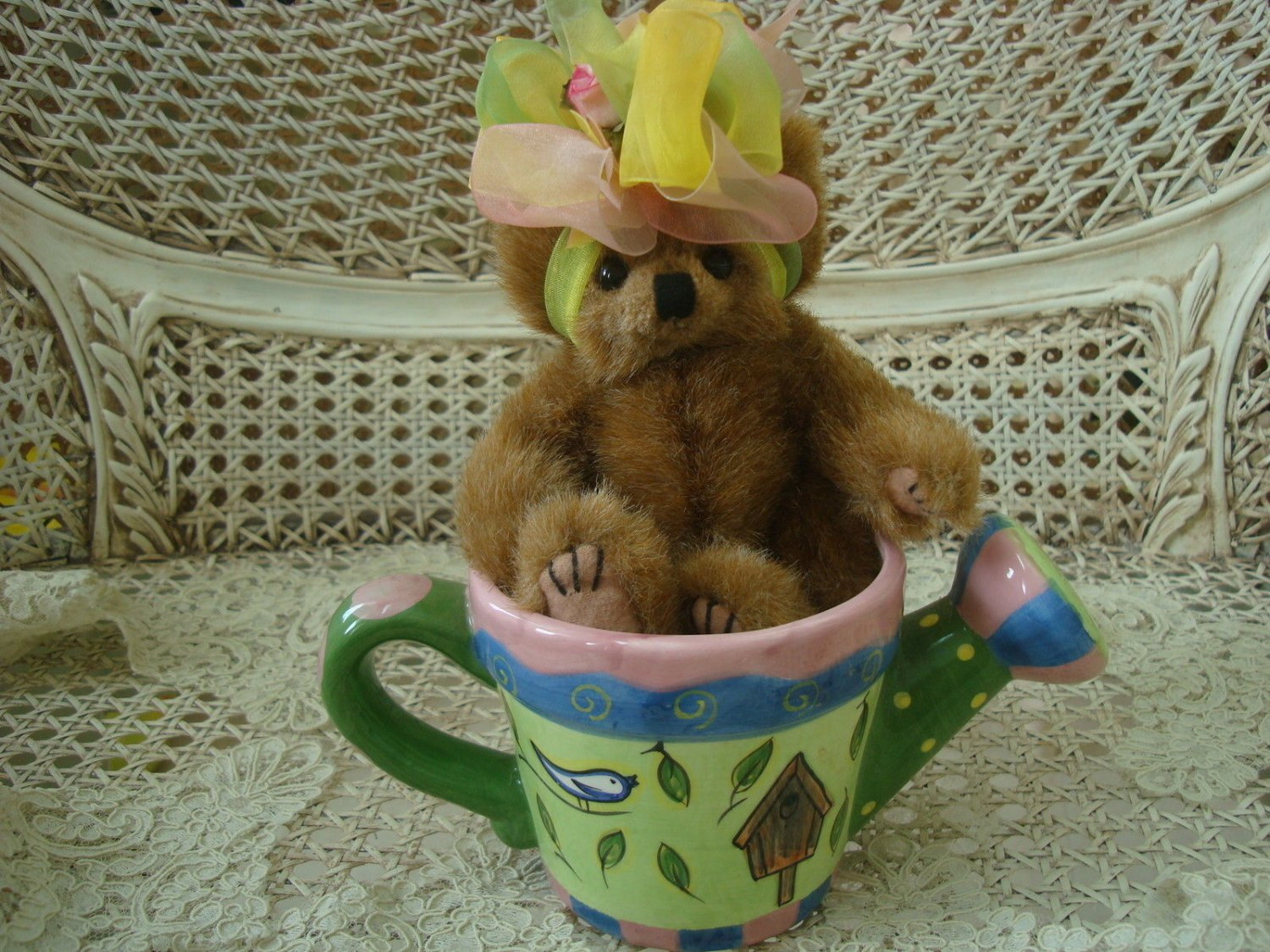 """ADORABLE 8"""" TALL BEAR IN PRETTY CERAMIC WATERING CAN  ***GREAT FOR SPRING***"""