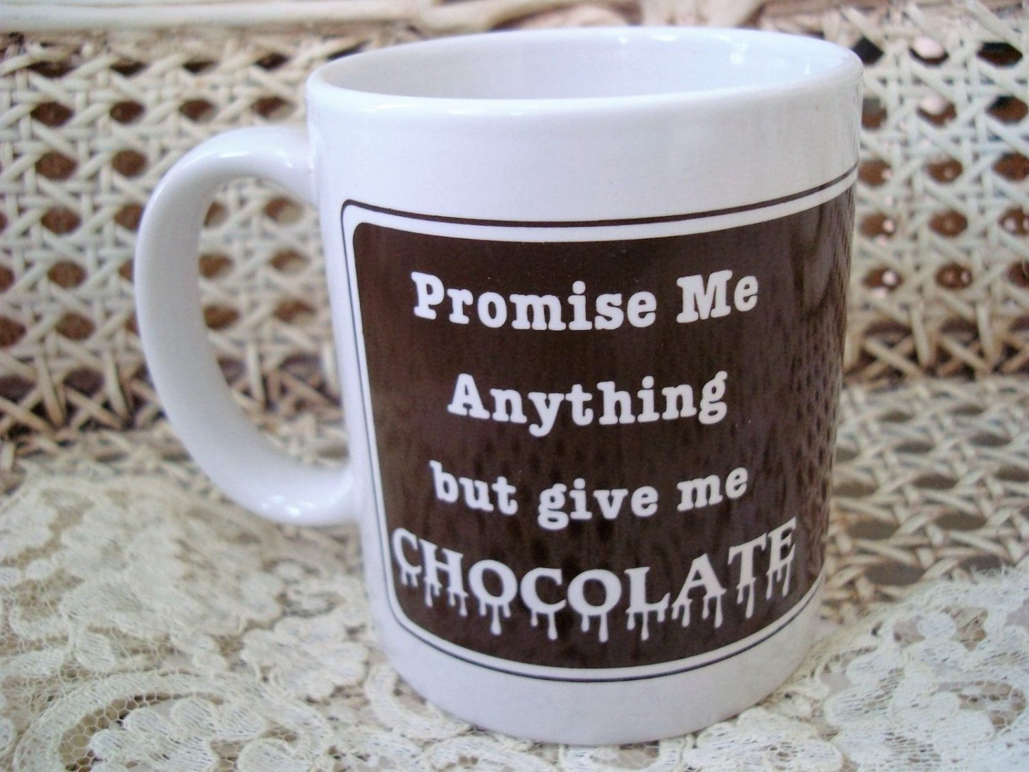 PROMISE ME ANYTHING BUT GIVE ME CHOCOLATE MUG ***NEW*** SO CUTE