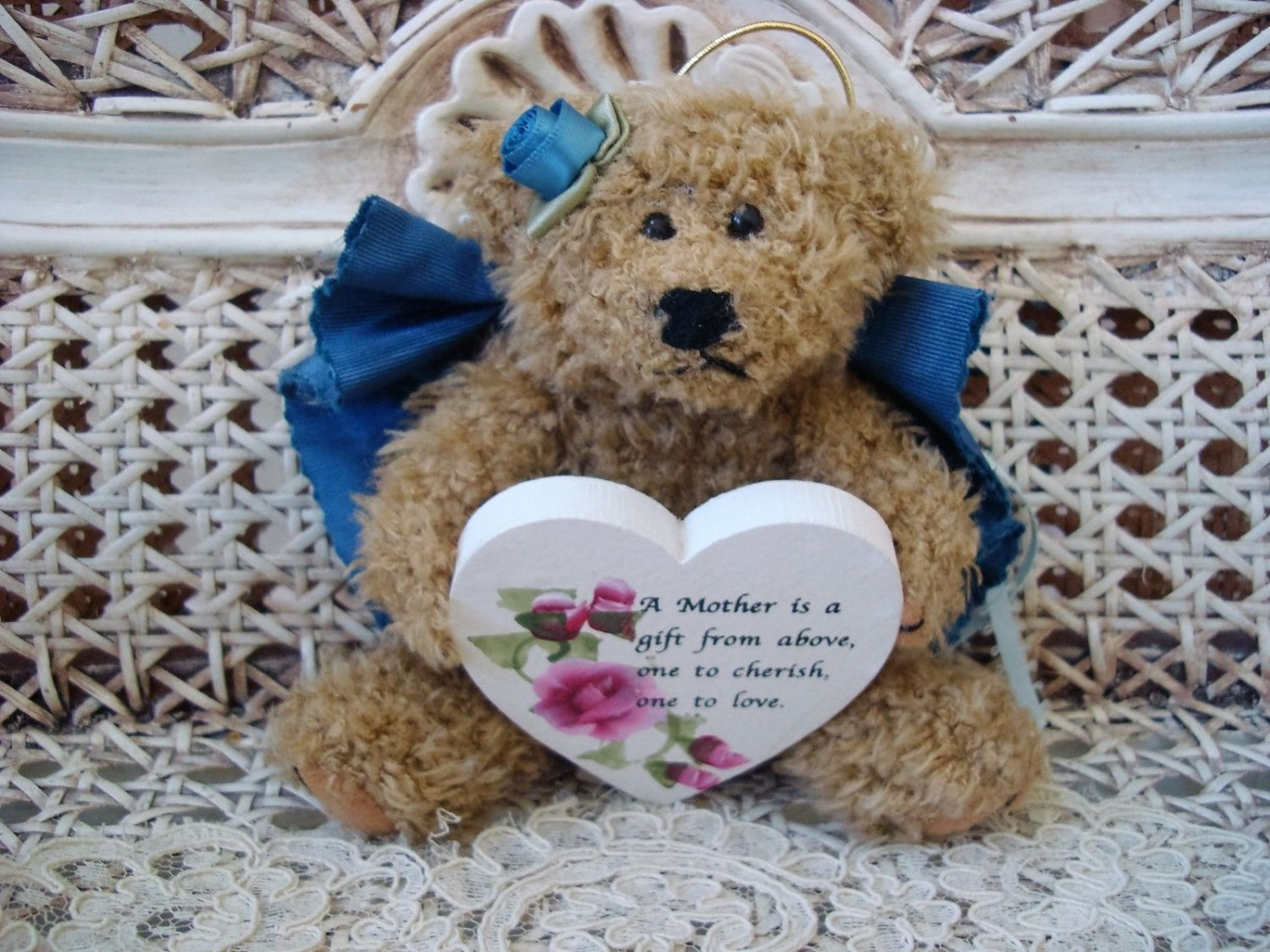 A MOTHER IS A GIFT FROM ABOVE BLUE BEAR ORNAMENT WITH WOODEN HEART SO CUTE