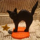 RARE MIDWEST IMPORTERS BLACK CAT ON PUMPKIN BOO DECORATION **NEW**