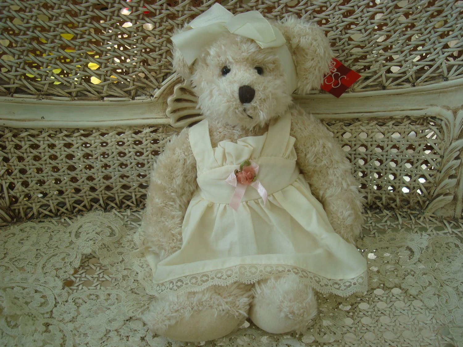 """RUSS BERRIE BEARNICE 12"""" TALL BEAR IN IVORY DRESS WITH LACE **PRETTY**"""