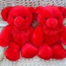 """SET OF 2 ADORABLE FLUFFY 10"""" TALL  RED CHRISTMAS BEARS ***SO CUTE***"""