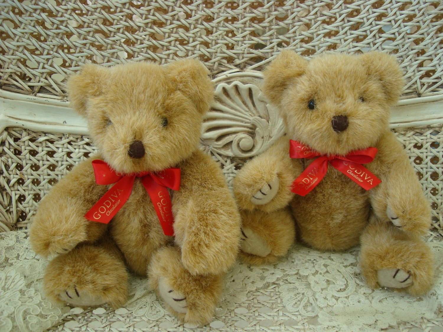 "GODIVA SET OF TWO 9 1/2"" TALL ADORABLE TEDDY BEARS ****SO CUTE****"