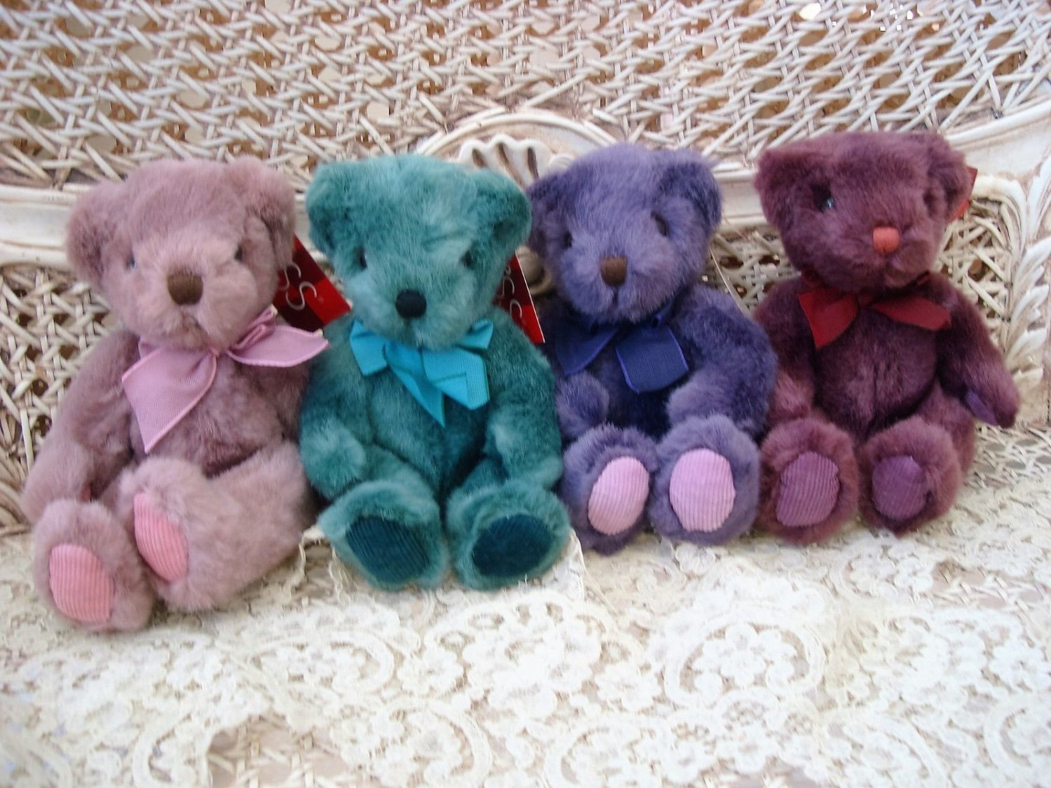 "RUSS BERRIE SET OF FOUR 8"" TALL ADORABLE TEDDY BEARS **SO CUTE*** NEW"