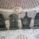 FOUR GOTHIC VICTORIAN STYLE SPOOKY HALLOWEEN TOMBSTONES RIP CEMETERY VILLAGE