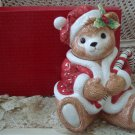 FITZ AND FLOYD PEPPERMINT TEDDY CHRISTMAS COOKIE JAR ***NEW IN BOX***