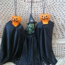 3 SCARY HALLOWEEN PUMPKIN & WITCH HANGING DECORATIONS WITH BLACK CAPES **SPOOKY*