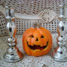 MERCURY GLASS REPRODUCTION HALLOWEEN CANDLE STICKS CANDLE HOLDERS  ***SPOOKY***