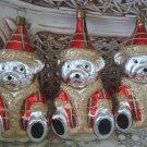 SET OF 3 VINTAGE BLOWN GLASS SHINY SILVER TEDDYBEAR CHRISTMAS ORNAMENTS