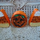 SET OF 3 HALLOWEEN SEQUIN TRINKET BOXES 2 CANDY CORN & 1 PUMPKIN **AWESOME**