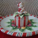 FITZ AND FLOYD PEPPERMINT TEDDY LARGE CHRISTMAS BEAR PLATTER ***NEW IN BOX***