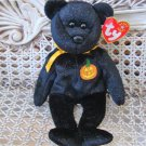 TWO ADORABLE TY BEANIE BABIES HALLOWEEN GLITTER BEARS WITH PUMPKINS **CUTE**
