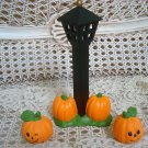 HALLOWEEN LAMP POST AND TWO PUMPKINS FIGURINES **GREAT FOR HALLOWEEN VILLAGE**