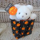 VINTAGE GUND SWEET TREAT WHITE HALLOWEEN BEAR & HALLOWEEN BAG **SO CUTE**