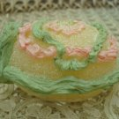 FAUX EASTER SMALL PINK & GREEN PANORAMA SUGAR EGG DECORATION WITH BUNNY INSIDE *NEW*