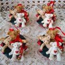 HOLLY BEARIES 4 RETIRED CHRISTMAS BEARS IN SANTA'S BAG CHRISTMAS ORNAMENTS *NEW*