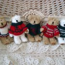 SET OF 5 ADORABLE CHRISTMAS BEARS IN CUTE SWEATERS CHRISTMAS ORNAMENTS **NEW**