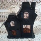 HAUNTED HOUSE BLACK METAL HALLOWEEN VOTIVE CANDLE HOLDER ***SO CUTE***