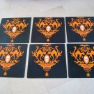 6 HALLOWEEN SKULL GOTHIC ELEGANCE SQUARE PLACE MATS