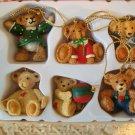 HOLLY BEARIES RETIRED SET OF 6 MINI BEAR ORNAMENTS CHRISTMAS ORNAMENTS *NEW*