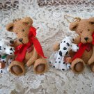 HOLLY BEARIES 2 RETIRED CHRISTMAS BEARS WITH DALMATION CHRISTMAS ORNAMENTS *NEW*